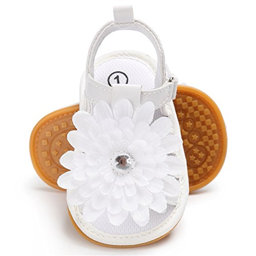 Sakuracan Infant Baby Girls Sandals Cute Summer Shoes Soft Sole Flat First Walker Shoes (9-15 Months Infant, A-White) -