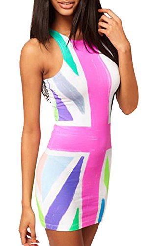 British Flag Mini Dress (Sexy Sleeveless The Union Jack UK Flag Printed Mini Bodycon Dress S)