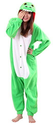 [Honeystore Unisex New Dinosaur Animal Cosplay Costume One Piece Pajama Halloween Green XL] (Fun Cheap Easy Halloween Costumes)