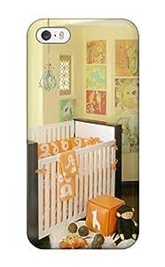 Premium Tpu Unisex Nursery With Orange Bedding And White Crib With Dark Wood Trim Cover Skin For Iphone 5/5s
