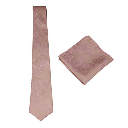 Mens Silk Paisley Tie Set: Necktie and Pocket Square (Rose - Silk Paisley Tie Gold
