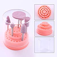 Shoppy Star:48 Holes EMPTY Nail Drill Bit Holder Case Display Stand with Cover Gel Polish Remover Storage Container Manicure Nail Art Tool