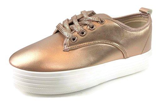 Creeper Platform Sneaker Casual Fashion Rosegold Footwear Refresh Women's xCqwIn8