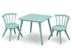Create a fun and inspiring spot for crafts, homework or snack time with the Windsor Table & 2 Chair Set from Delta Children. Perfectly sized for young children, this practical play table features a spacious square tabletop and two coordin...