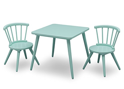 Delta Children Windsor Kids Wood Chair Set and Table (2 Chairs Included), Aqua -