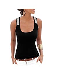 Summer Sexy Vest Sequins U Collar Casual Women Tank Tops T-Shirt Blouse Plus Size