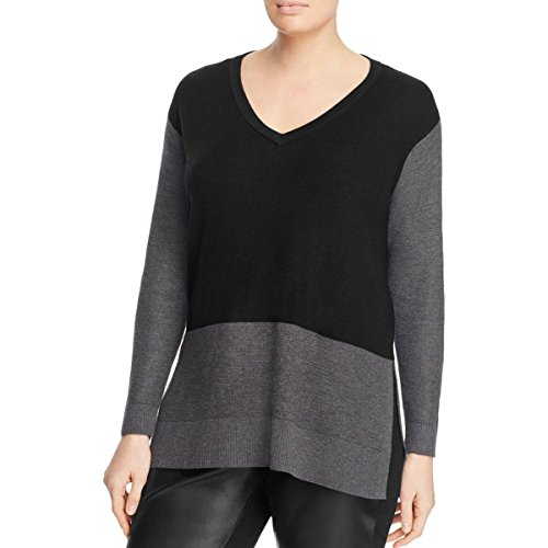 Vince Camuto Womens Knit Tunic V-Neck Sweater Black 3X