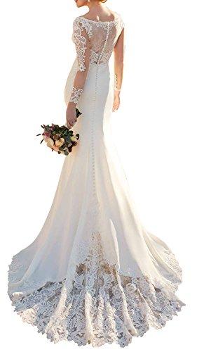 Ethel Women's Lace Court Train V-neck Sheer Long Sleeve Mermaid Wedding Dress