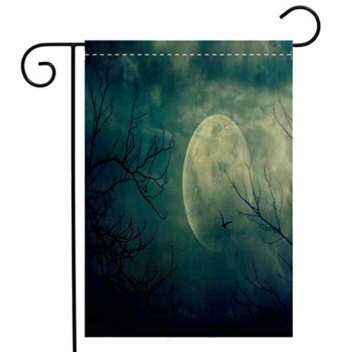BEIVIVI Creative Home Garden Flag Horror House Decor Halloween with Full Moon in Sky and Dead Tree Branches Evil Haunted Forest Blue Garden Flag Waterproof for Party Holiday Home Garden Decor ()