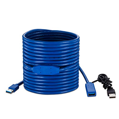 USB 3.0 Active Extension Cable 30Ft, Tan QY USB 3.0 Active Repeater Cable Extender with Signal Amplifier Type A Male to A Female Cord Superspeed (Blue 30Ft)