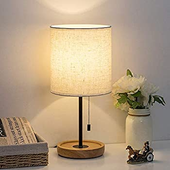 Haitral Small Bedside Table Lamp Wooden Tripod
