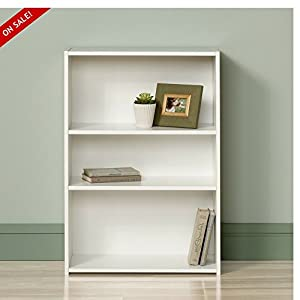 White Bookshelf Small 3 Shelves Modern Childens Open Low Wide Best Contemporary Office Standing Bookcase Library Furniture Storage Wall Unique Living