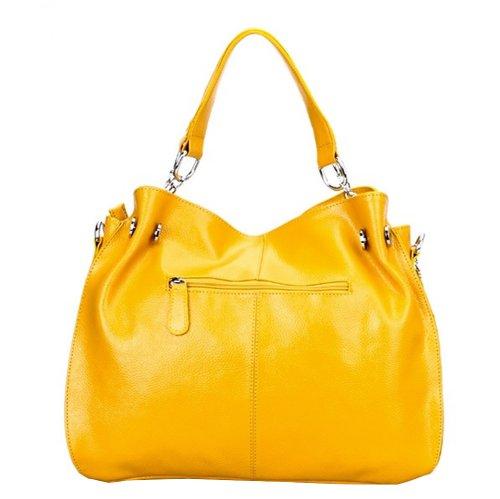 Valin Q0217 Damen Leder Handtaschen Top Handle Satchel Tote Taschen Schultertaschen 38x28x14cm (B x H x T) Gelb