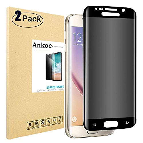 ctor Samsung Galaxy S7 Edge, Ankoe Full Coverage Anti-Spy [Anti-Scratch] [Anti-Fingerprint] [Bubble Free] 3D Curved Privacy Tempered Glass for Samsung Galaxy S7 Edge (2 Pack) ()