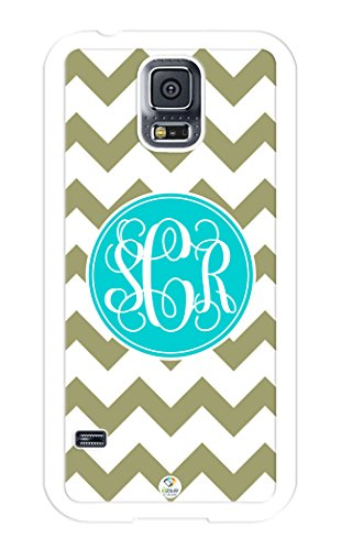 (iZERCASE Samsung Galaxy S5 Case Monogram Personalized Olive Green and White Chevron Pattern RUBBER CASE - Fits Samsung Galaxy S5 T-Mobile, Sprint, Verizon and International (White) )