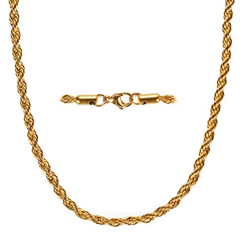 YourGift 20 inches Fake Gold Necklace Chain Fake Gold Coating Stainless Steel 4 MM Gold Color Twist Rope Chain, Super Luxury and Looks So Real, Never Fade
