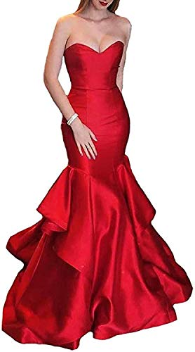 (Ever-Beauty Womens Strapless Mermaid Prom Dress 2019 Long Satin Evening Formal Gown with Ruffles Red Plus Size 18)