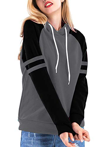 Stripe Tees Tops Hoodie (Yidarton Women's Hoodies Color Block Long Sleeve T Shirt Casual Pullover Sweatshirts Tunic Tops(Gray,M))