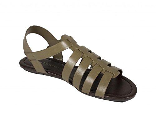 Zallo! Sandalo Da Donna Di Gladiatore Pescatore Gladiatore In Similpelle Kaki