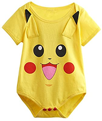 Yoyoworld Baby Girls' Pikachu Cute Onesie Funny Bodysuit Short Sleeves