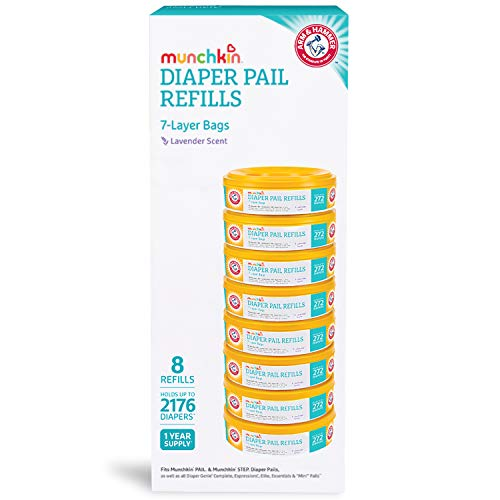 41Zqrky6%2BZL - Munchkin Arm And Hammer Diaper Pail Refill Rings (8 Refills Of 272 Count Each), 2,176 Count