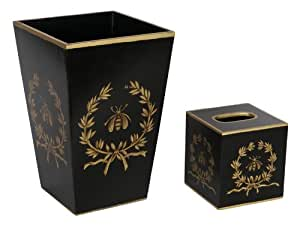 Trash can trash bin wastebasket tissue box for Gold bathroom bin
