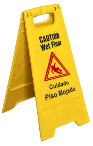 New Star Foodservice 54613 Safety Caution Wet Floor Sign English/Spanish 25-inch
