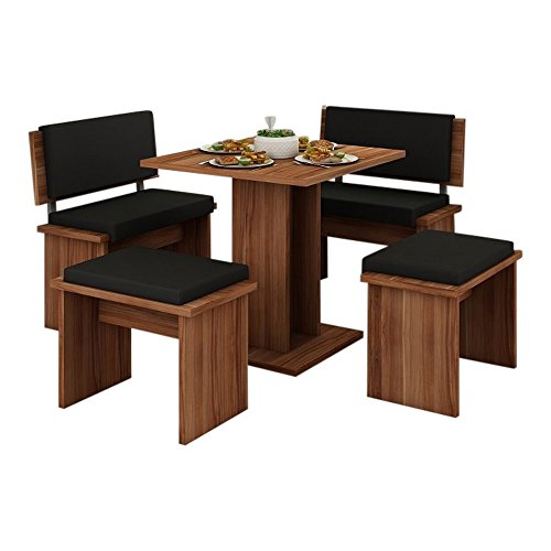 5 Pc Breakfast Kitchen Nook Table Set, Bench Seating, Cherry with Black (Breakfast For Booths Kitchens)