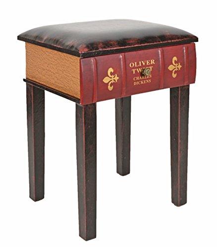 ts-ideen Taburete banqueta Asiento sofa Banco de Corredor Estilo de Vintage Libros Rustico Rojo con un cajon