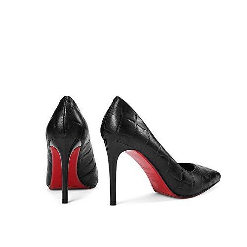 Et Printemps Cuir avec avec Noir Relief Femme en Et Hauts Été Talons 35 Talons Taille Chaussures pour JIANXIN Hauts Motif en xZwIFq7q