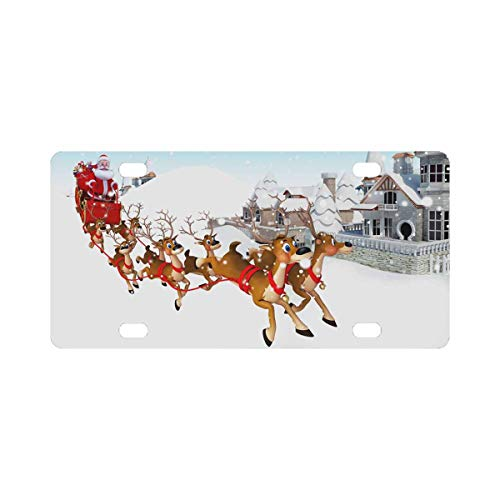 InterestPrint Santa Sleigh Metal License Plate Tag Sign Decor 12