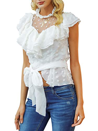 Simplee Women's Sexy Off Shoulder Deep V Neck Tops Lace Up Ruffle Blouse Shirt (8, White)