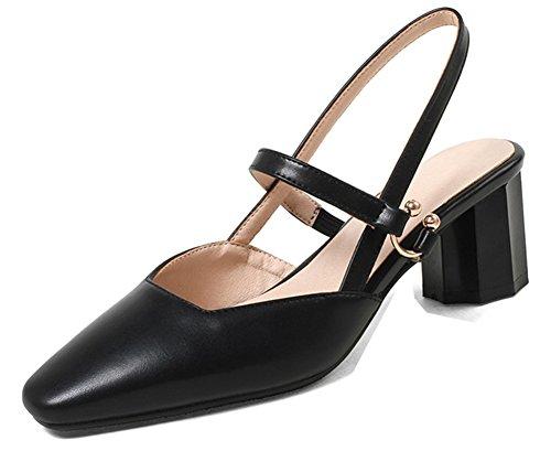 Aisun Coupe Sandales Noir Escarpins Talon Classique Rond Femme carrée rBq4ra