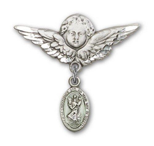 Icecarats Créatrice De Bijoux En Argent Sterling Bleu R. Christopher Charme Ange Broche De Badge 1 1/8 X 1 1/8