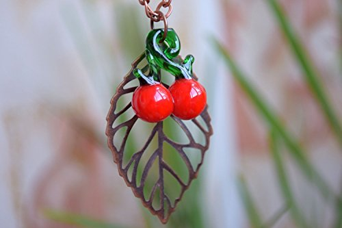 Fall Lampwork Beads (Cherry necklace Copper leaf jewelry Lampwork glass bead necklace Fruit pendant Red berry necklace Fall jewelry Autumn necklace Cherry beads Lampwork bead jewelry Charm necklace Womens gift)