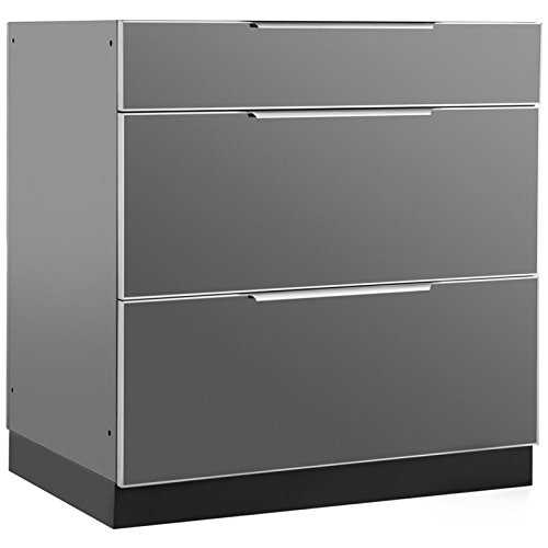 NewAge Outdoor Kitchen 3 Drawer Kitchen Cabinet in Aluminum Slate by New Age