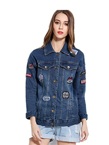 Otoño nuevas mujeres yardas grandes flojas de la sección larga de las mujeres de la chaqueta de mezclilla parche insignia Blue