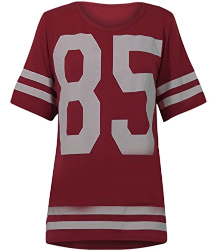 Womens Oversize 85 Football Style Jersey T-shirt (Sty) (4/6 (uk 8/10), Wine) Football Oversized T-shirt