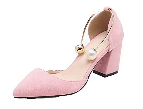 Women Pull On Toe Suede Heels Solid CCALP014484 Sandals VogueZone009 Closed High Imitated Pink UaqnRgd