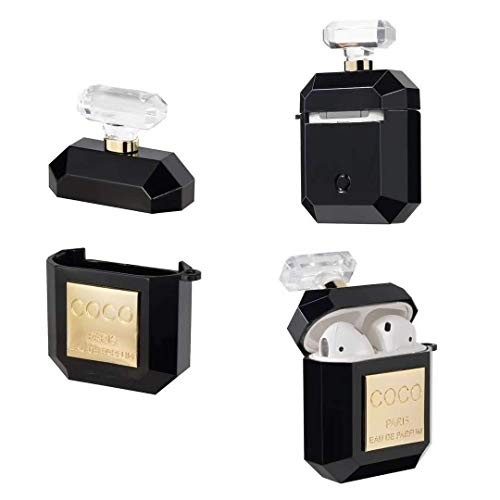 MsCassy Luxury Airpod Case for Airpods, Coco, Black and Gold (Case Coco Black)