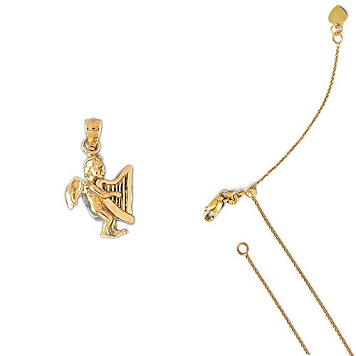 14K Yellow Gold Angel Pendant on an Adjustable 14K Yellow Gold Round Cable Chain Necklace, 22