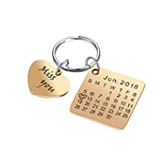 Engraving Custom Date Calendar Keychain Custom Date Pendant Key Ring for  Lovers Couples Valentine's Day Birthday Anniversary Special Day Gift (Black)
