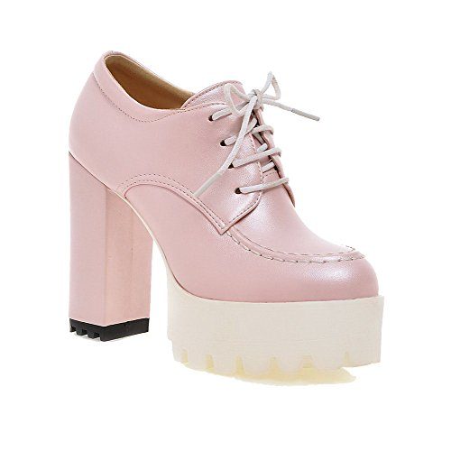 Women's Lace Heels Pink up Material High Closed WeenFashion Round Pumps Shoes Solid Soft Toe dpBSZ