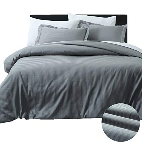 HORIMOTE HOME Gray Cotton Duvet Cover King, 100% Damask Cotton with 400 Thread Count, Sateen Weave, Pinstripe Pattern Luxury Royal Hotel Bedding Set, Silky Soft Breathable Durable Bed Cover