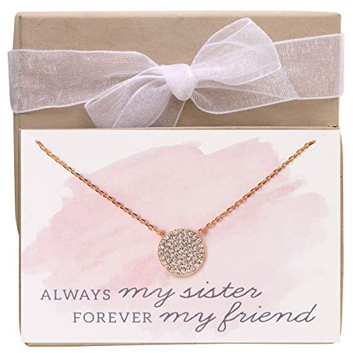 A+O Sister Gift, 11 MM Rose Gold Vermeil CZ Disc Pendant Necklace