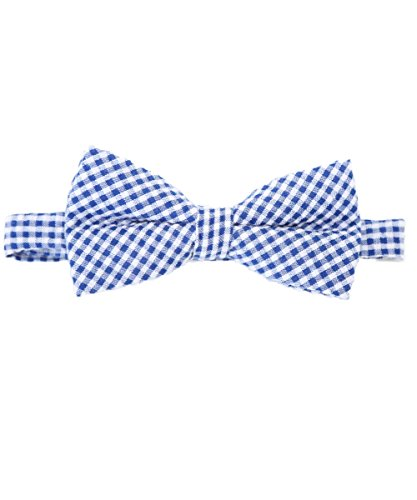 Noah's Boytique Baby Infant Toddler Boy Navy Blue and White Gingham Bow Tie BowTie with Neck Strap Cake Smash Photo Prop