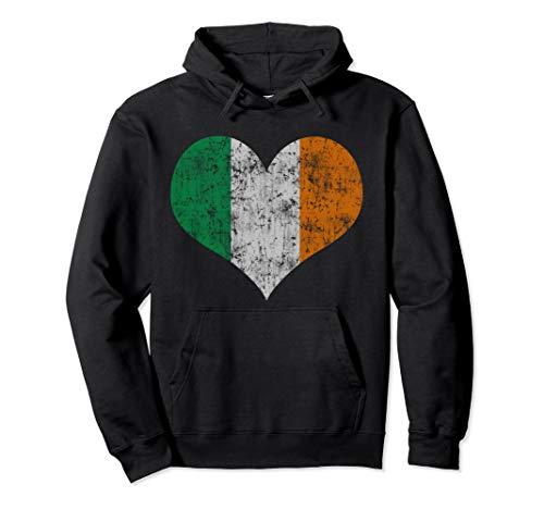 Irish Flag Heart Hoodie Sweatshirt Ireland St Patricks Day