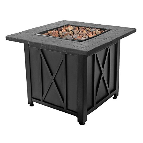 Endless Summer Blue Rhino Outdoor Propane White Lava Rock Patio Fire Pit, Black ()