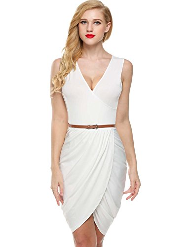 Elesol Women Sexy Deep V Neck Mini Dress Draped Ruched Surplice Club Dress White S