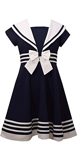 Bonnie Jean Girls' Big Fit and Flare Nautical Dress, Navy, 10